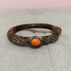 Antique Chinese Silver Red Coral Rattan